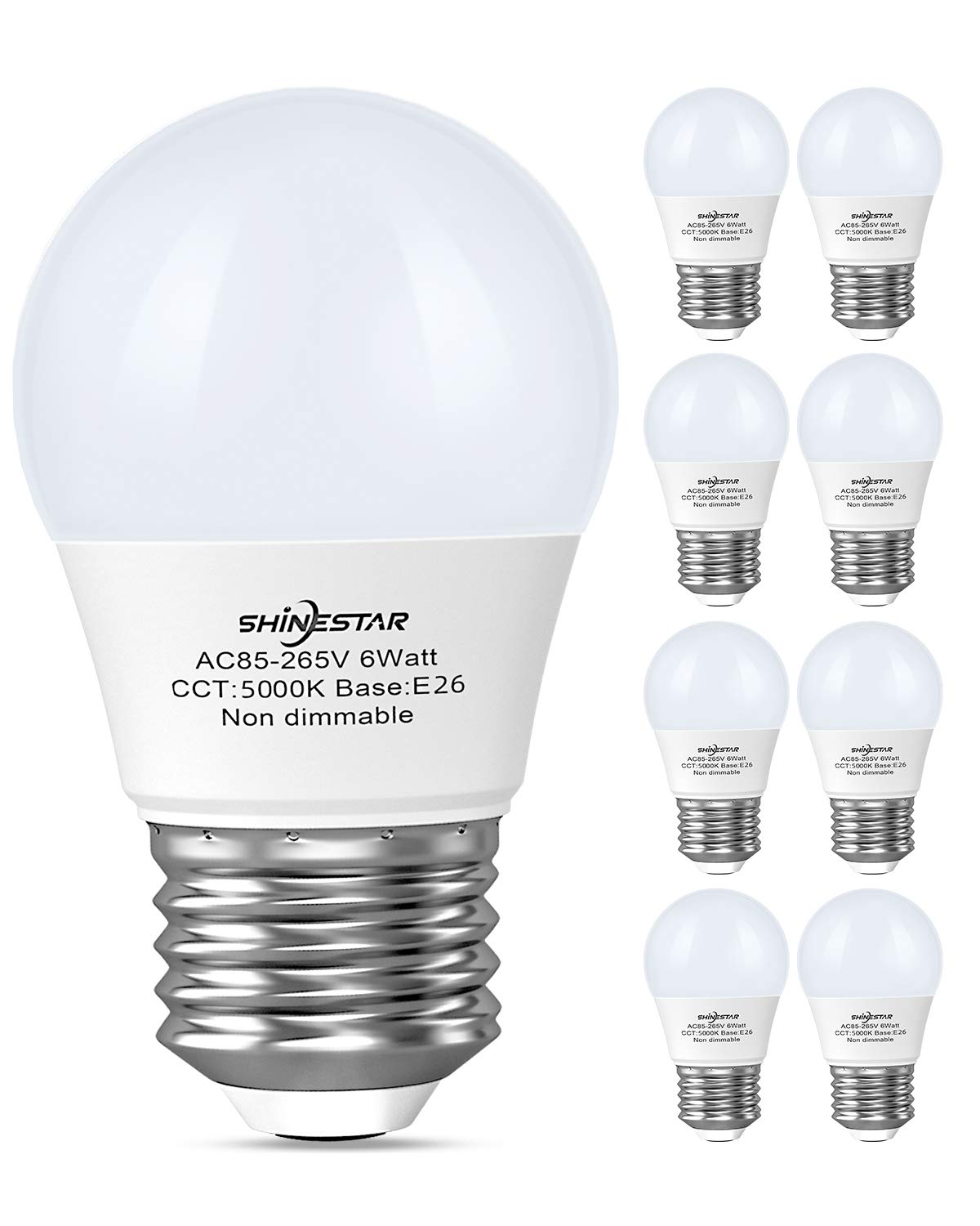 8-Pack A15 LED Bulbs, 60 Watt Equivalent E26 Light Bulb, 5000K Daylight LED Appliance Bulb Refrigerator Bulbs, G14 Ceiling Fan Light Bulbs, Non-dimmable