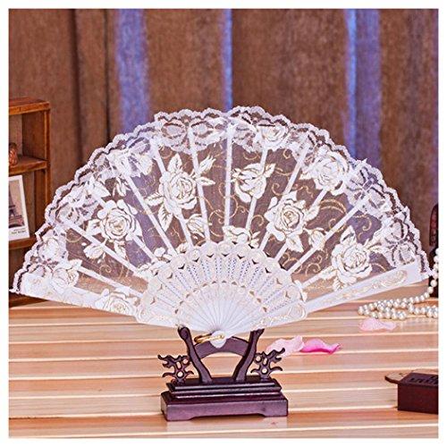 Inkach Folding Hand Held Fans, Multi-Color Floral Folding Fan for Dance Wedding Lace Flower Folding Hand Fan (White)
