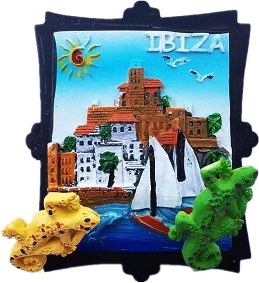 Imán de nevera fuerte 3d de Ibiza Island España Europa Ciudad del Mundo de Resina 3D para regalo turístico chino imán hecho a mano artesanal creativo hogar y cocina decoración magnética pegatina: