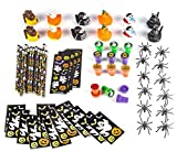 72 Halloween Mega Toy and Novelty Assortment; Includes 12 Halloween Rubber Ducks; 12 Halloween Themed Notepads; 12 Halloween Pencils; 12 Halloween Stickers Sheets; 12 Stampers; 12 Spider Rings