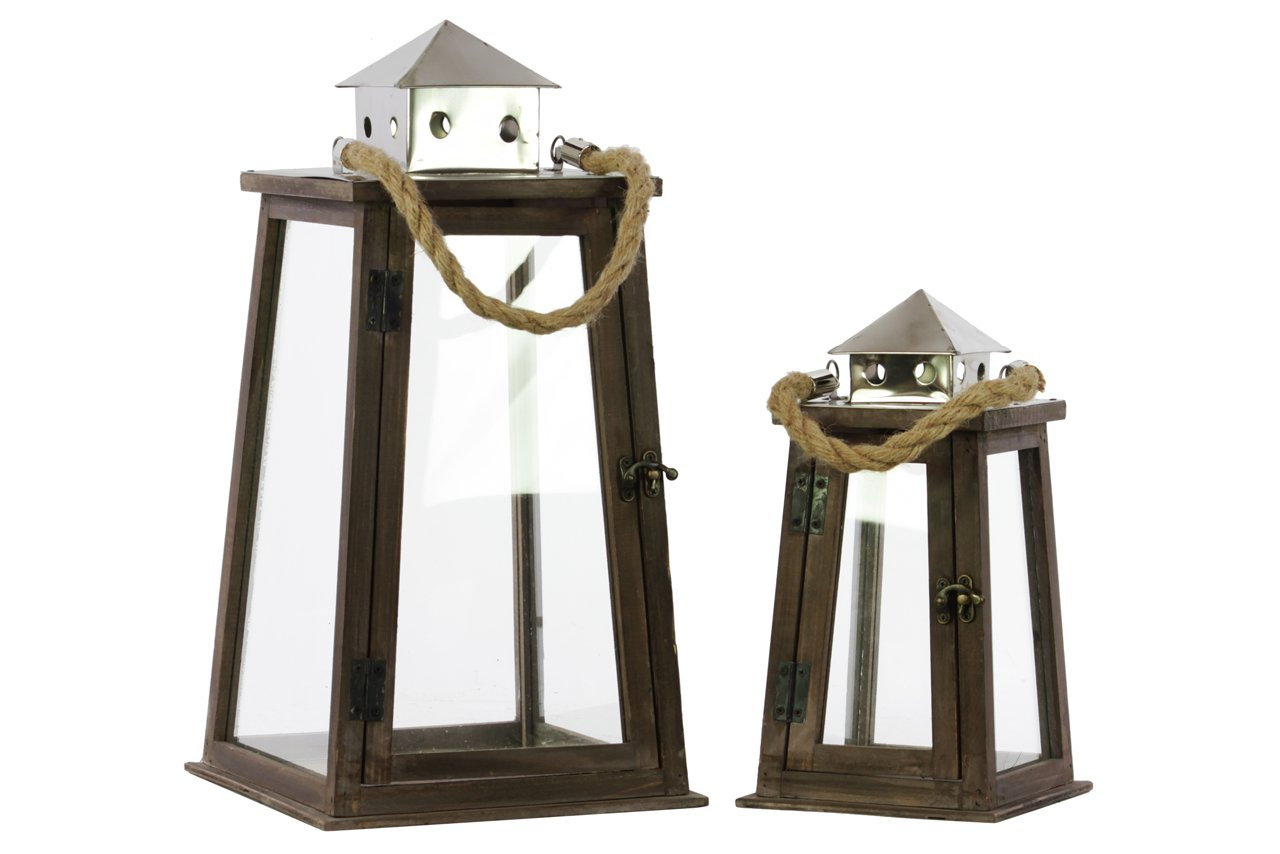 Urban Trends Wood Square Lantern with Chrome, Silver Metal Top, Rope Hanger and Glass Windows, Stained Wood Finish, Set of 2