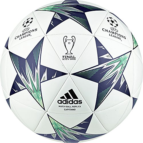 Official Soccer Ball White (adidas Champions League Finale Kiev Capitano Soccer Ball, White/Blue, Size 5)