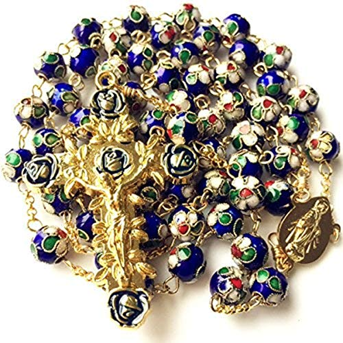 - elegantmedical Handmade Gold Blue Cloisonne Rose Beads Rosary Italy Cross Crucifix Catholic Necklace Box