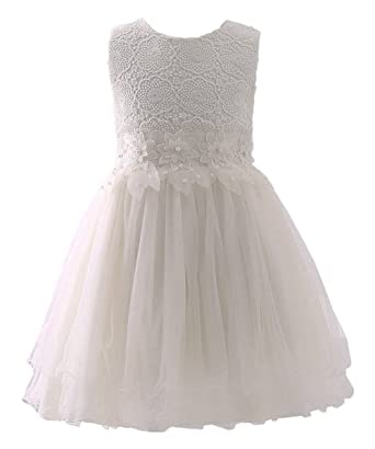AbaoSisters Flower Girl Dress Lace Crochet Bow Sash Party Wear 6-13 Year Old (