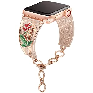 [Rose Version] Somoder Bling Bands Compatible with Apple Watch Band 38mm 40mm, Vintage Chain Jewelry Cuff Bracelet Replacement for Iwatch Series 4/3/2/1, Sport Edition, Nike+