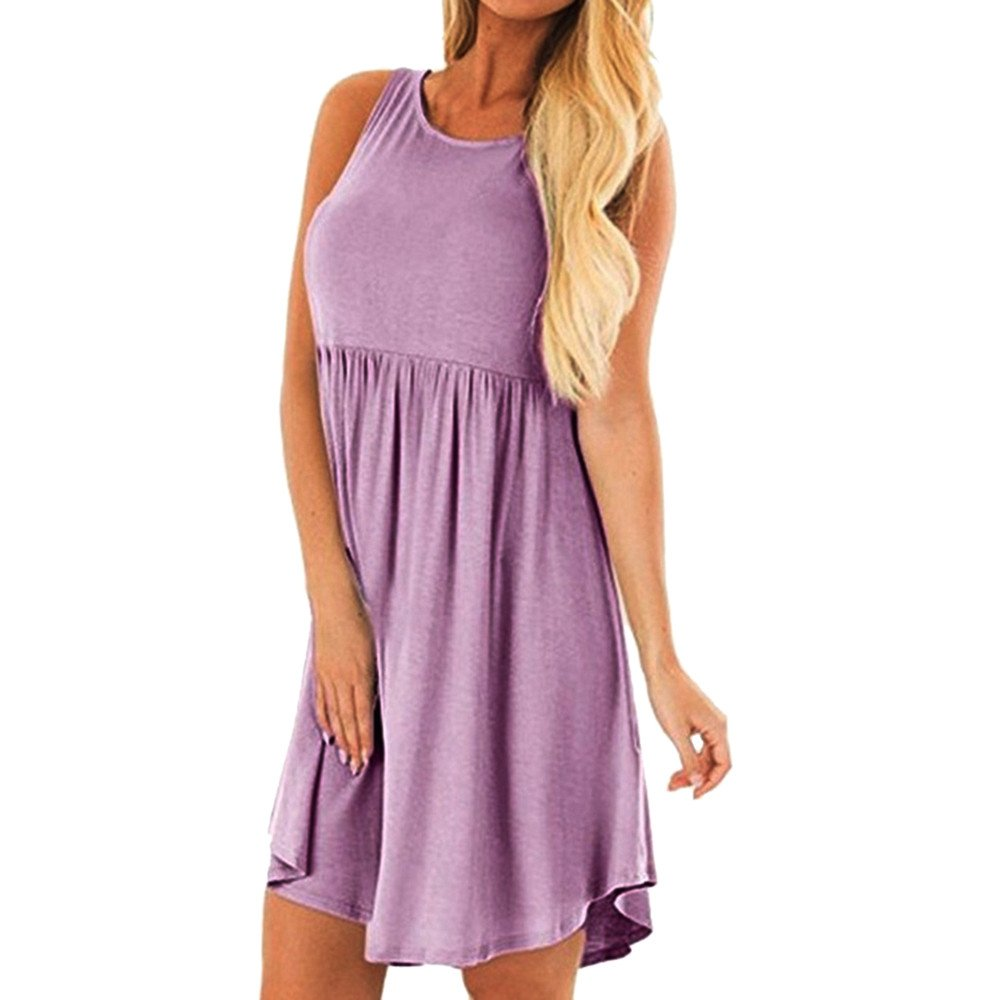 Women's Summer Sleeveless Casual Loose Swing Flare Solid Color Pleated Tunic Tank Dress Beach Vintage Party Short Dress (2XL, Purple)