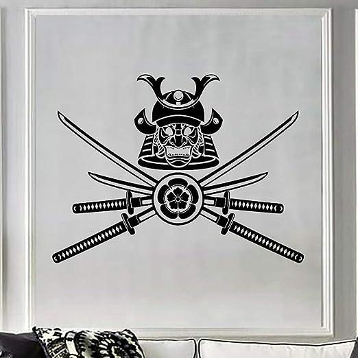 Máscara samurai espada vinilo etiqueta mural arte pegatinas de ...