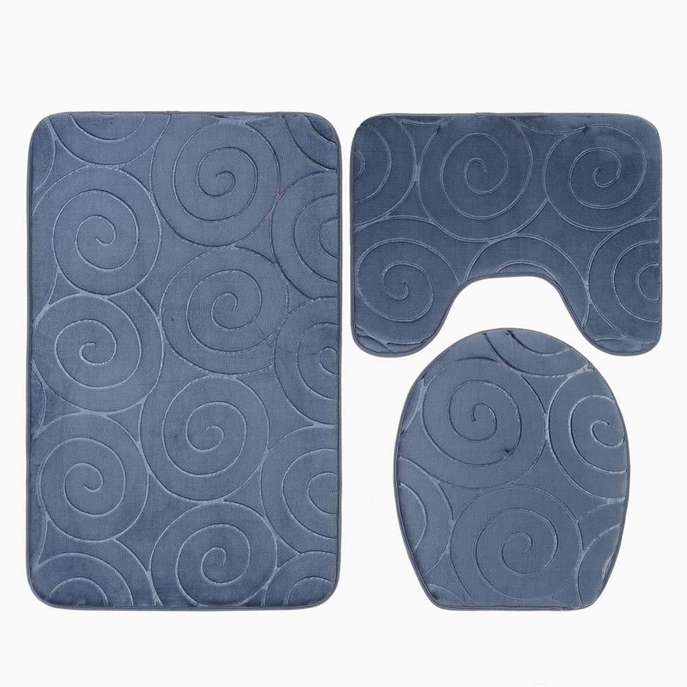 Blu Navy Tappeto Contorno a Forma di U Homieco Set di 3 tappeti Antiscivolo per Tappetino da Bagno in Memory Foam Morbido Assorbente Copri Coperchio per WC