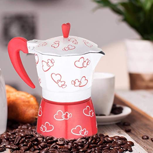 Joojun Cafetera pequeña, cafetera Love de Doble Capa roja Love ...