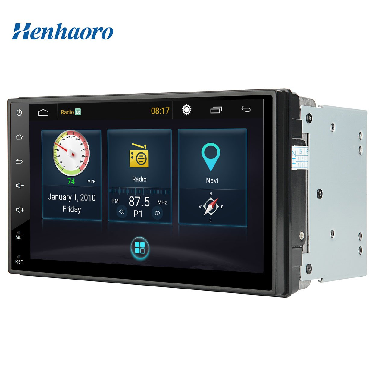 Henhaoro 7'' Android Car Stereo Gps Navigation Touch Screen Radio Receiver No DVD 2 Din Resolution 1024x600 Head Unit (2018 Brand New Version) by Henhaoro