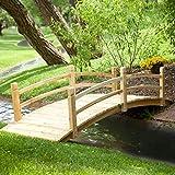 Home Improvements Natural Finish Wood 8 Foot Garden Bridge Outdoor Yard Lawn Landscaping Decor