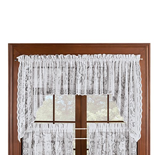 Collections Etc Floral Lace Cafe Curtain Window Swags Set of 2, Windsor - with Rod Pocket Top, White