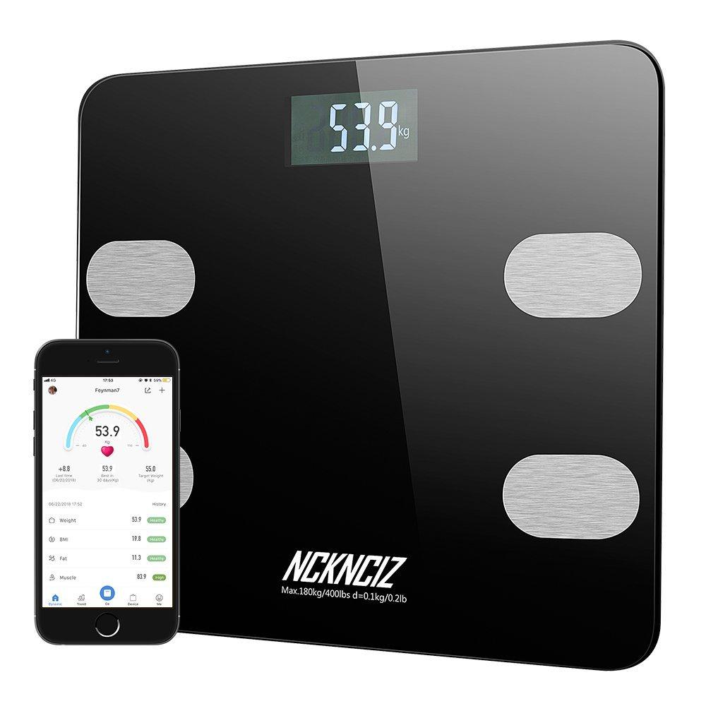 Bilancia Pesapersone Digitale, Bilancia Grasso Corporeo, Bilancia digitale Bluetooth con APP di IOS/Android, Bilancia per controllo del peso, BMI, Acqua, Muscoli, Calorie (Nero) Guanda Direct tzc-03