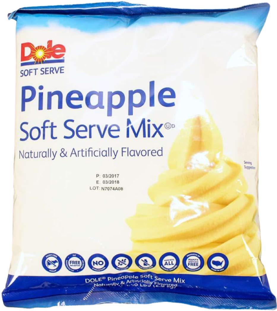 Dole Pineapple Lactose-Free Soft Serve Mix 4.4 Pound Bulk Bag (Pack of 4) with By The Cup Rainbow Sprinkles by By The Cup (Image #2)