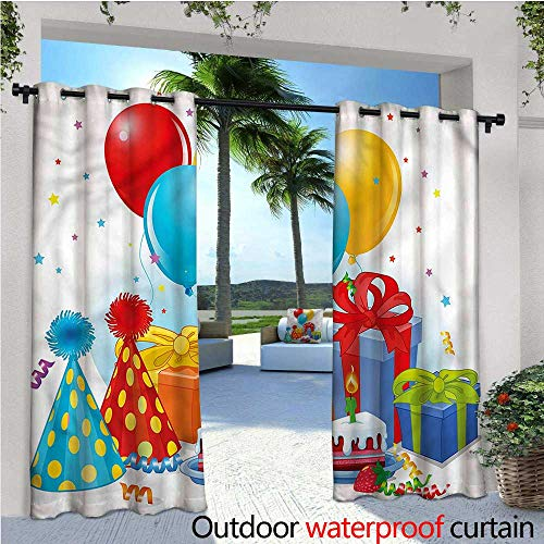 Panel Pie Safe - warmfamily Birthday Indoor/Outdoor Single Panel Print Window Curtain Pie Hats Presents Ballons Silver Grommet Top Drape W96 x L108
