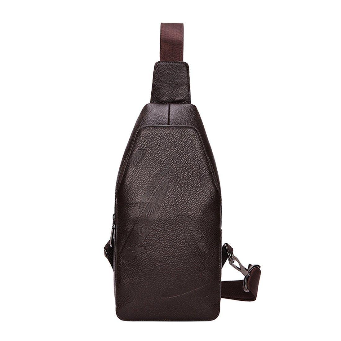 Men's Sling Bag Genuine Leather Chest Bag Shoulder Backpack Travel Daypack(F-Brown)