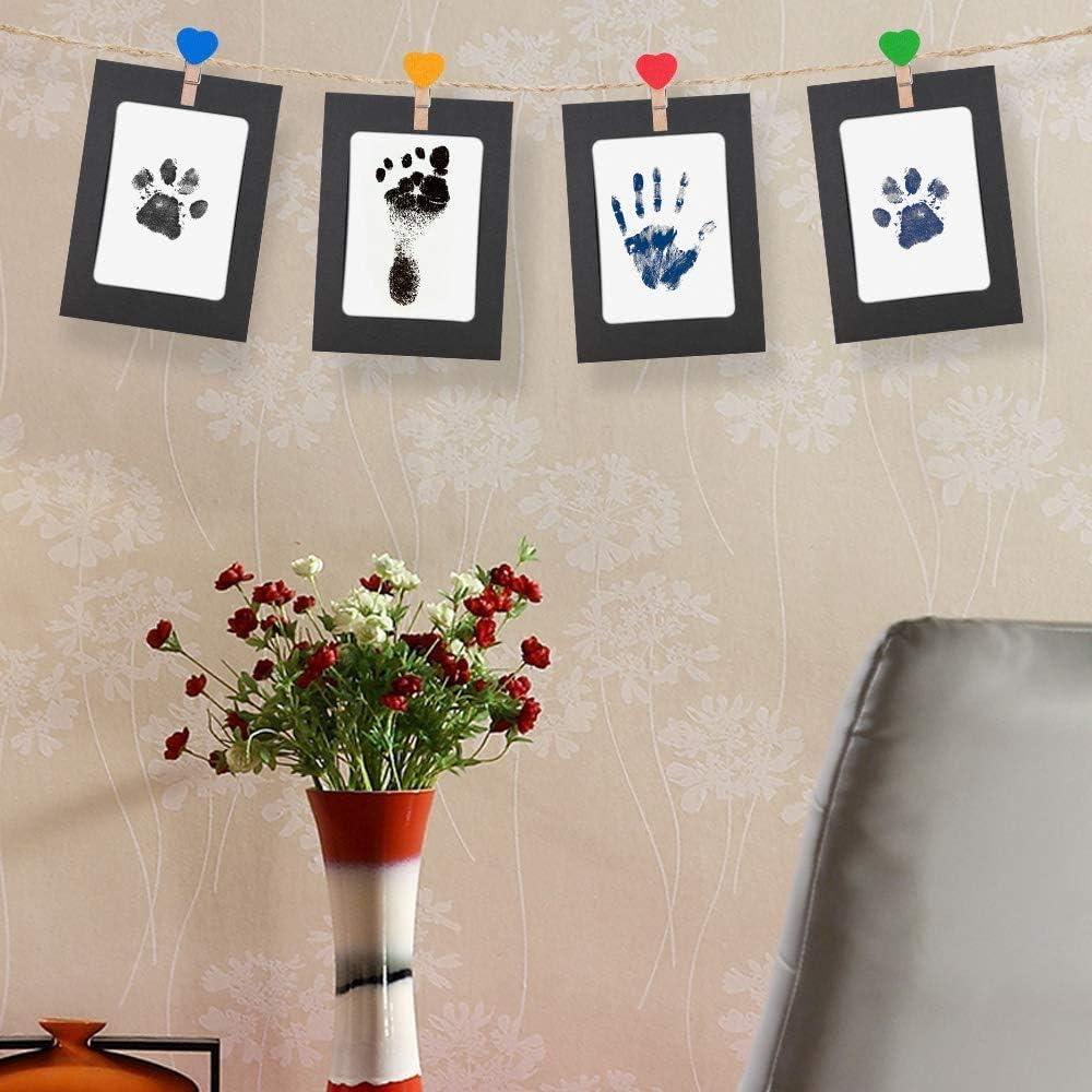Inchiostro Impronta Neonato nero 2pc Kit Per Impronte Bimbi per 0-12 Mesi di Regalo per Baby Shower Impronta Bambino,Baby Handprint Tampone Di Inchiostro Per Bambini