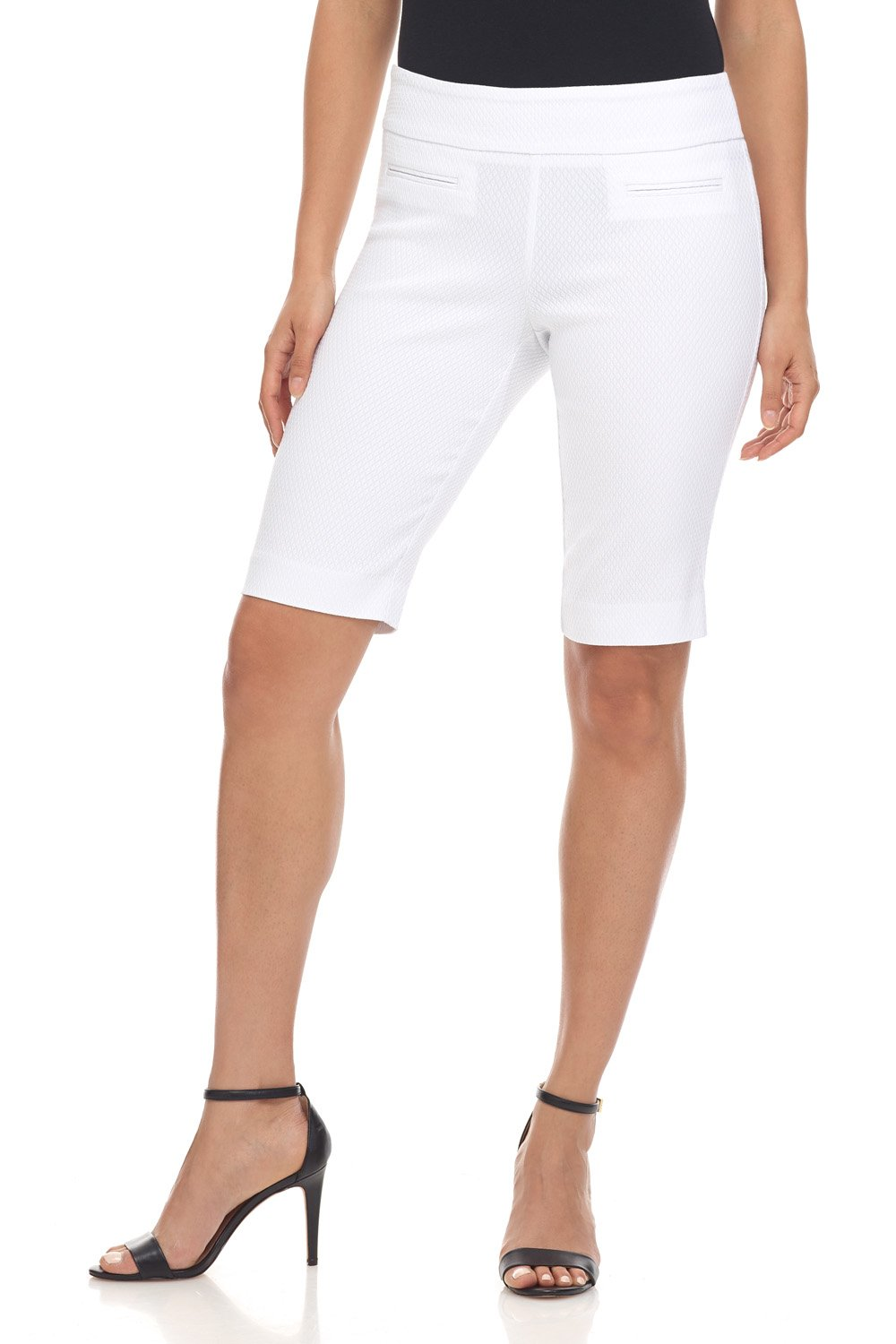 Rekucci Women's Ease in to Comfort Fit Pull-On Modern City Shorts (10,White Diamond Texture)