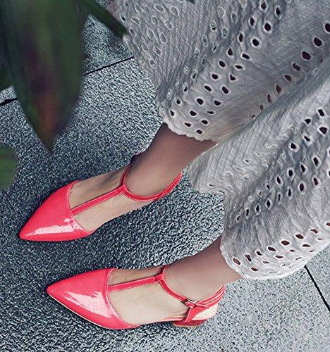 Aisun Femmes Chunky Mi-talons Robe Boucle T Sangle Fermée Bout Pointu Sandales À La Mode Chaussures Rouge