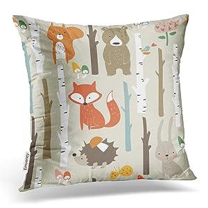 Emvency Throw Pillow Covers Forest Cute Fox Bear Bunny Elk Hedgehog Birds Mushrooms Trees Decor Pillowcases Polyester 16 X 16 Inch Square Hidden Zipper Home Cushion Decorative Pillowcase
