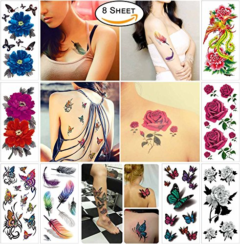 COKOHAPPY Temporary Tattoos for Women Teens Girls - 8 Sheets Fake Tattoos Flower Sticker for Arm Shoulders Waist Chest & Back - Night Show Girls Flash Tattoos Waterproof Large Transfers (Ink Will Not Transfer)