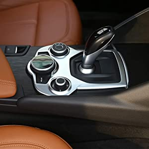 LLKUANG for Alfa Romeo Giulia Stelvio 2017 2018 ABS Matte Chrome Interior Center Console Gear Shift Panel Cover Trim