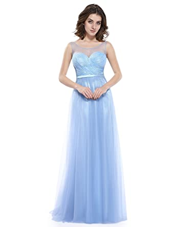 Ever-Pretty Womens Round Illusinon Neckline Long Sleeveless Prom Dress 4 US Ice Blue