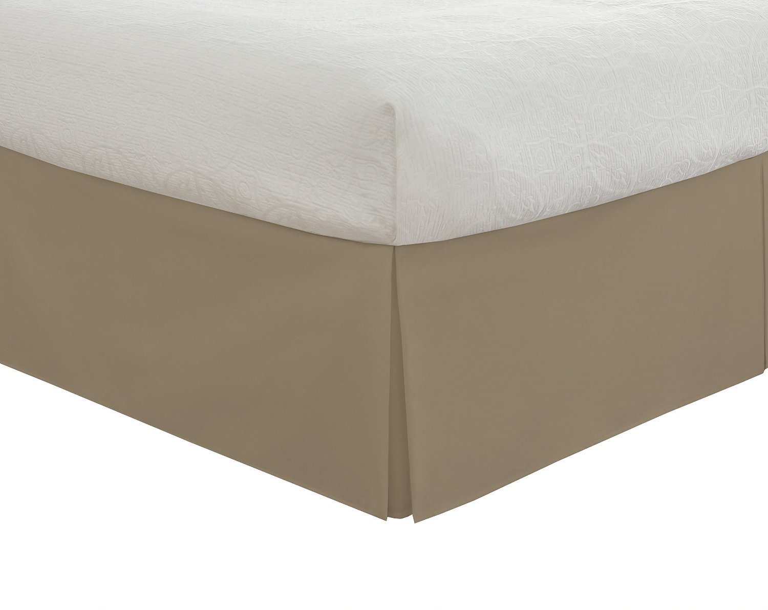 SRP Bedding Real 210 Thread Count Split Corner Bed Skirt / Dust Ruffle Queen Size Solid Taupe 16'' inches Drop Egyptian Cotton Quality Wrinkle & Fade Resistant