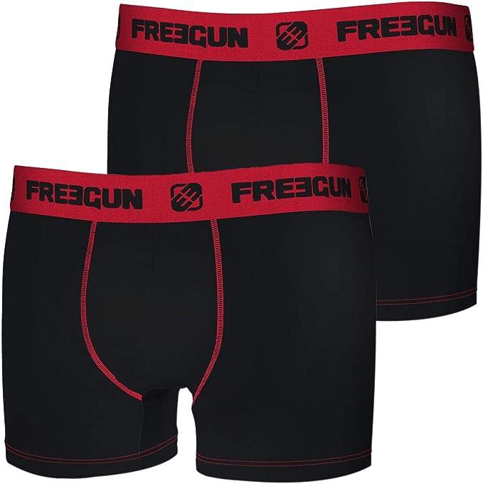 FREEGUN Lot de 2 Boxers Coton gar/çon uni
