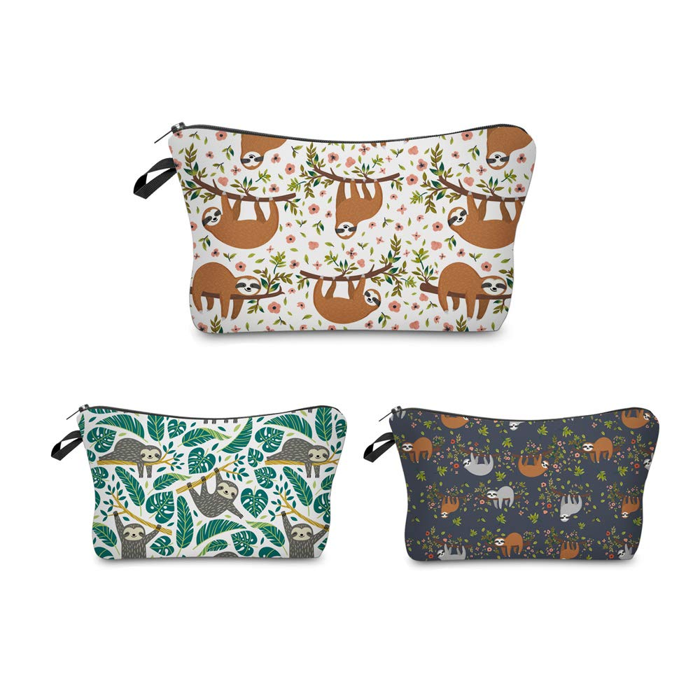 Cosmetic Bag MRSP Makeup bags for women,3 piece set Small makeup pouch Travel bags for toiletries waterproof Sloth gifts