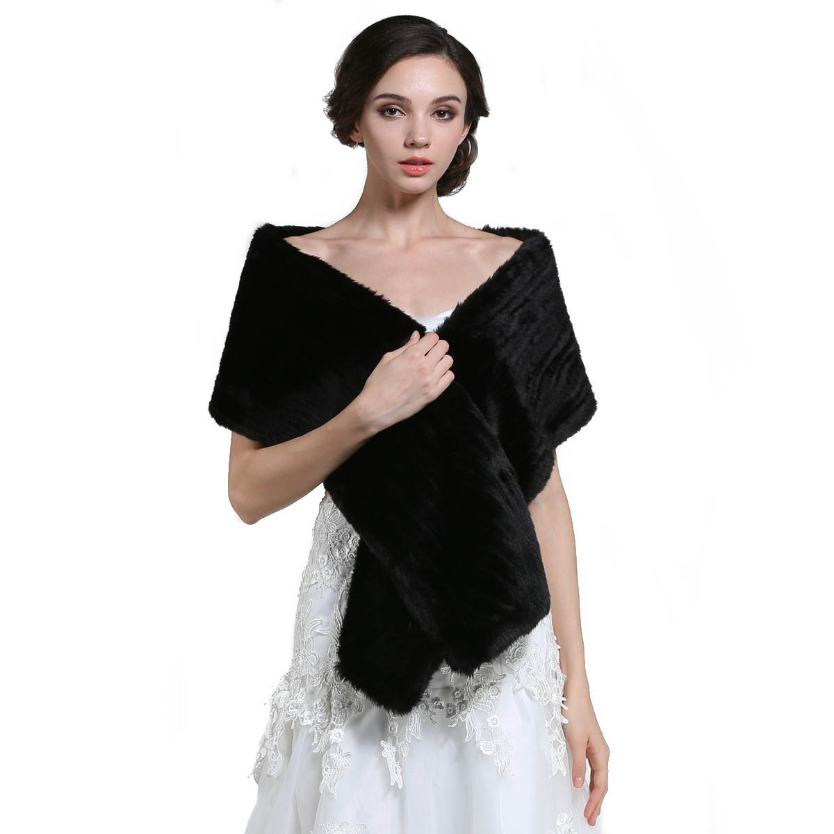 Aukmla Women's Faux Fur Shawls and Wraps Bridal Wedding Stole (Black)