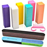 Professional Nail Files and Buffers Kit, 100/180 Grit Emery Boards for Nails, Colorful 4 Sides 120 Grit Nail Buffer…