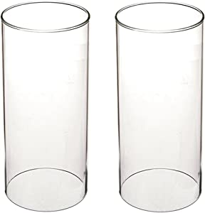 "SG Clear Candle Holder Glass Cylinder Vase Glass Chimney Lamp Shade Candle Holder Open End Open 2.8"" Height 8"" (2 Packs)"