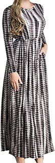 Tootlessly-Women Tunic Islamic Printing Muslim Pocket Maxi Long Dress