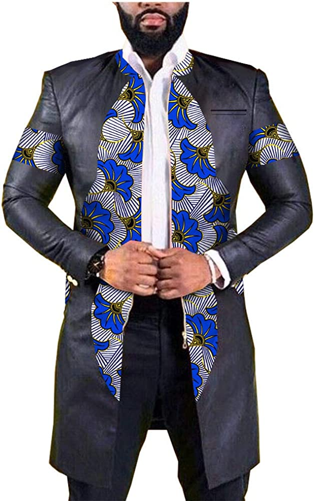 africa-pride Men's Dashiki Printed Leather Jacket Ankara Blazer Coats Long Sleeve Pockets Outwear