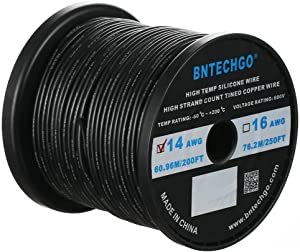 BNTECHGO 14 Gauge Silicone Wire Spool 200 ft Black Flexible 14 AWG Stranded Tinned Copper Wire