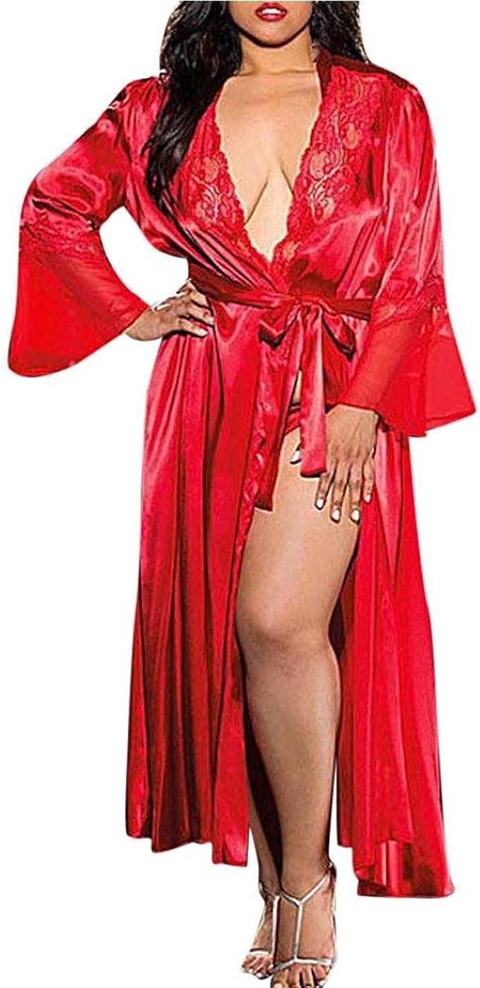 LeeY Damen Sexy Lange Kimono Strickjacke Kleid Puppe Nachthemd