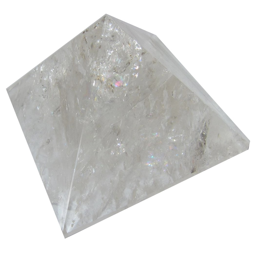 Satin Crystals Quartz Included Pyramid 4.4'' Collectible Dazzling Rainbow Stone Light Reflective Natural Rock Healer Gem C06 by SatinCrystals
