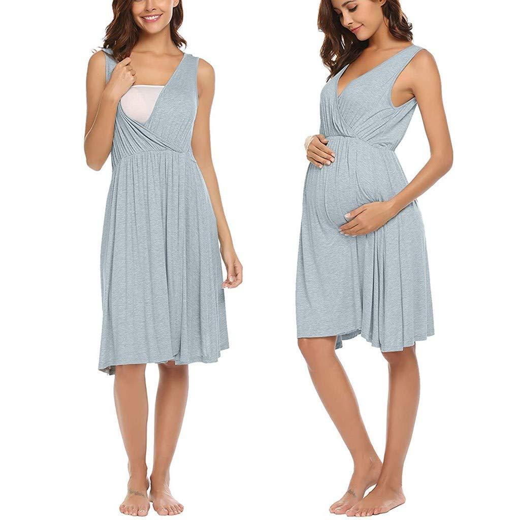 d6cebb74f70 Amazon.com: Womens Sleeveless Maternity Dresses Nursing Breastfeeding  Summer Casual Sleepwear Midi Dress: Clothing