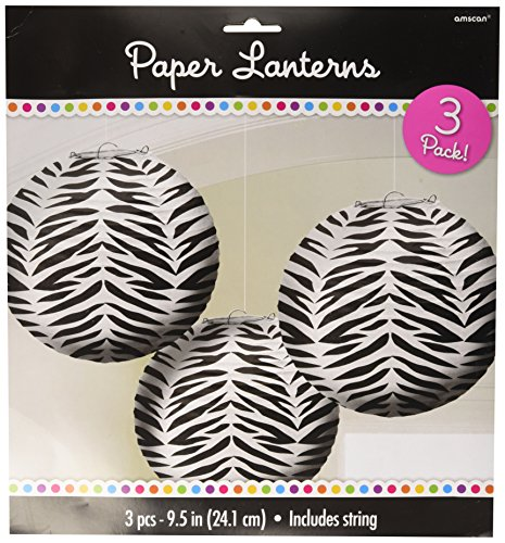Zebra Round Paper Lanterns| Pack of 3| Party Decor -