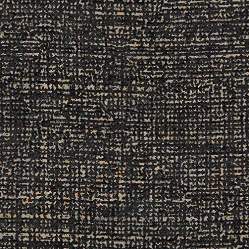 - Onyx Black Plain Textured Chenille Upholstery Fabric by the yard