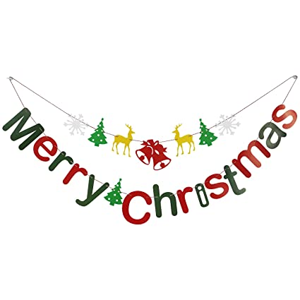 Cxy DIY Merry Christmas Banners Bunting Garlands for Holiday Party Decoration, Christmas Home Décor