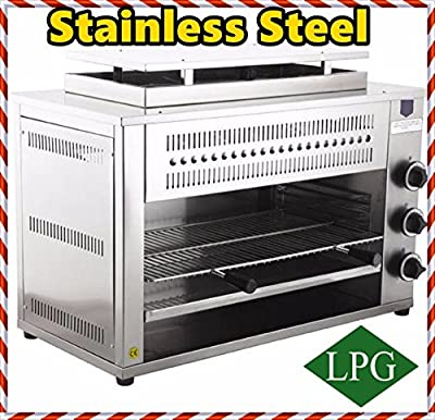 Professional 3 Infrared Burners, Stainless Steel Propane Gas COUNTERTOP Salamander Grill Cooker Cooking Cheese Melter Food Heater for Commercial Industrial Kitchen Restaurant
