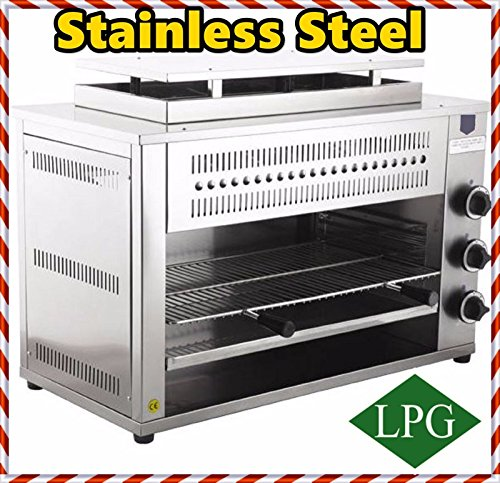 3 RADIANT STAINLESS STEEL Charbroiler Grill Char-Rock Broiler PROPANE GAS COUNTERTOP SALAMANDER Charbroiler Grill for Commercial industrial Kitchen