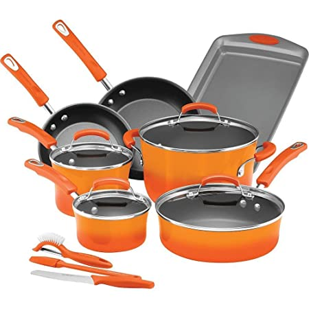 Rachael Ray Classic Brights Hard Enamel Nonstick 14-Piece Cookware Set, Orange Gradient