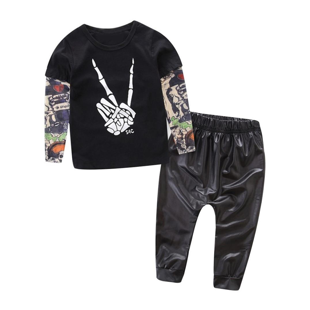 Clode/® for 0-2 Years Old Baby Boys Cute Toddler Kids Tattoo Letter Print Vest Tshirt Tops and Long Pants 2pcs Outfit Summer Clothes