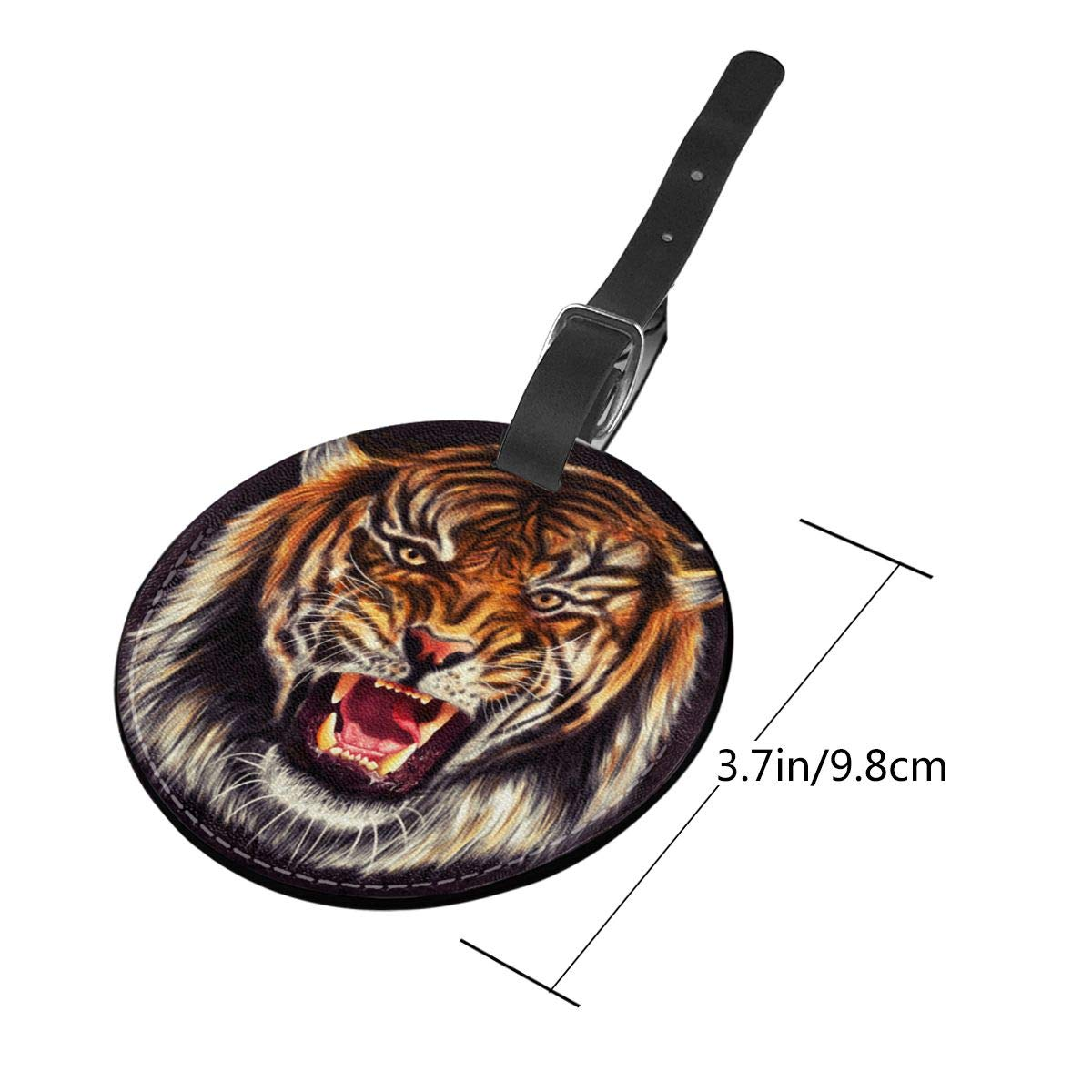 Jinsshop 4 PCS Leather Luggage Tag With Name ID Card Perfect To Quickly Spot Luggage Suitcase Tiger