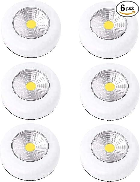 LED Puck Light Wireless Stick On Lights Battery Operated Closets Light 6 Pack