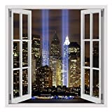 Alonline Art - WTC Twins NYC Fake 3D Window FRAMED STRETCHED CANVAS (100% Cotton) Gallery Wrapped - READY TO HANG | 12''x12'' - 30x30cm | For Living Room Giclee For Bedroom Frame For Home Decor
