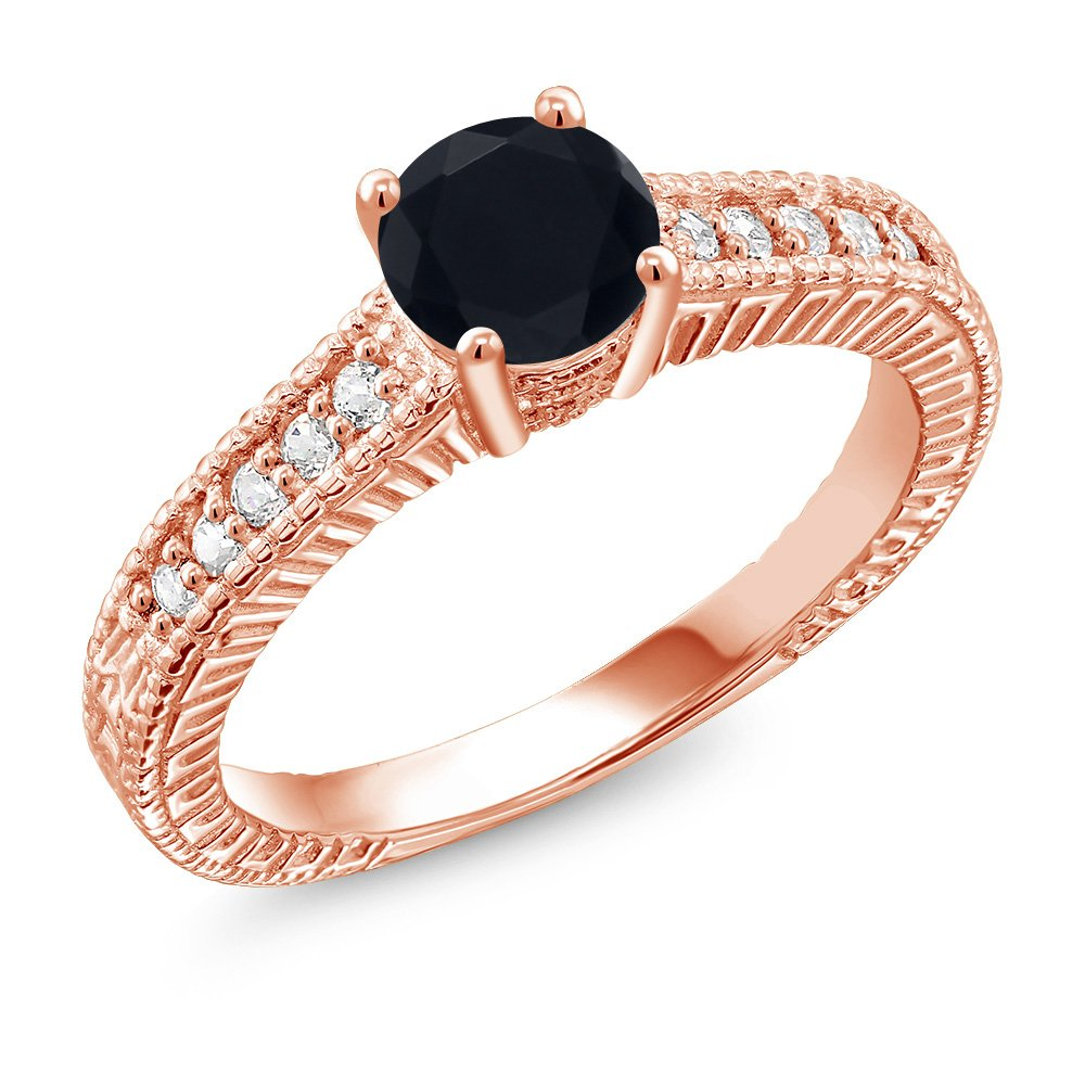 Gem Stone King 1.65 Ct Round Black Zirconia 18K Rose Gold Plated Silver Ring Available 5,6,7,8,9